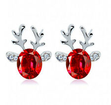 Xmas Fashion Christmas Crystal Deer Earrings Ear Stud Women Girls' Jewelry Red