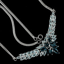 Sterling Silver 925 Genuine London & Sky Blue Topaz Cluster Necklace 18 Inch