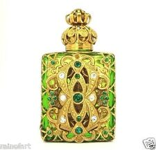 Vintage Green PERFUME BOTTLE Antique Gold Tone Filigree Faceted Green Crystal