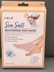 New CALA Sea Salt Moisturizing Foot Masks, 3 count , Hydrating, Nourishing