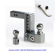 "Weigh Safe WS6-2 Adjustable 6"" Drop Hitch with Weight Scale - Keyed alike locks"
