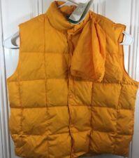 L.L. Bean Mens XL Goose Down Vest Orange On Orange Winter Pack Away