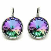 Large Round Bella Women Vitrail Light  Earrings Made with SWAROVSKI Crystals®