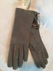 Charter Club Womens Italian Leather Cashmere Lined Gloves Gray Size 7 1/2
