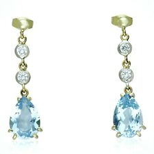 PRE-OWNED 18CT YELLOW GOLD  BLUE TOPAZ & DIAMOND DROP EARRINGS