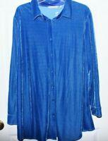 Soft Surroundings Blue Velvet Boyfriend Shirt Long Sleeve Top Tunic X Large
