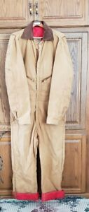 WALLS BLIZZARD PRUF INSULATED APPAREL USA TAN AND RED COVERALL SIZE XL TALL