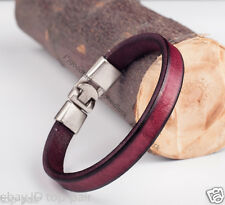 MEN'S COOL SINGLE BAND SURFER GENUINE LEATHER WRAP BRACELET WRISTBAND Purple