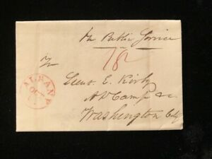 NY ALBANY 1820 STAMPLESS COVER MILITARY CONTENT