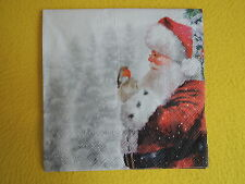 5 Servietten TELLING Robin Santa Weihnachten mann Serviettentechnik Rotkehlchen