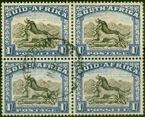 South Africa 1952 1s Blackish Brown & Ultramarine SG120a V.F.U Block of 4
