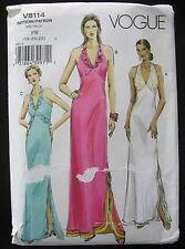 Vogue Evening Gown Pattern Halter Maxi dress V8114 Sz 18-20-22 Plus Womens UNCUT