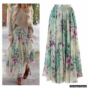 Gonna Lunga Vestito Donna Fiori - Woman Maxi Skirt Flower Dress Chiffon 130042