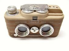 VIEWMASTER PERSONAL STEREO CAMERA + CASE. BEIGE & BROWN FINISH