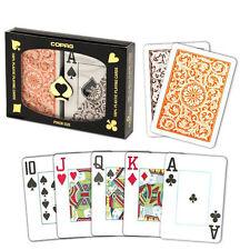 New COPAG Plastic Playing Cards Poker Size Jumbo Index Orange Brown FREE CUTCARD
