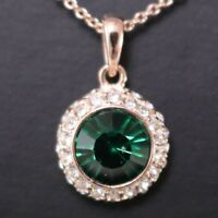 2.5 Ct Green Round Emerald White CZ Halo Pendant Chain Necklace 14K Yellow Gold