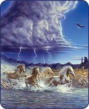 79x96 Queen Thunder Hooves Horse Lightning Storm Mink Fleece Blanket Super Plush