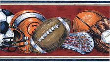 All Sports Balls Football Helmet Baseball Glove Soccer Red Wall paper Border