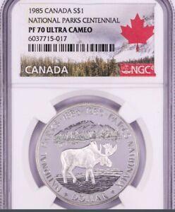 1985 SILVER DOLLAR NATIONAL PARKS CENTENNIAL CANADA NGC PR 70 ULTRA CAMEO
