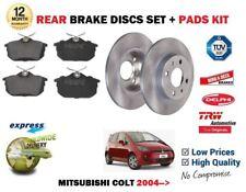 FOR MITSUBISHI COLT 1.1 1.3 1.5 TD  TURBO 2004-> REAR BRAKE DISCS SET + PADS KIT