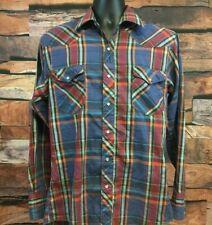 VTG Wrangler Western Mens Sm Shirt Pearl Snap Retro Cowboy Orange, Blue, Red