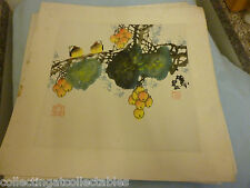 Chinese Ink Wash Painting  (Signed with artist Seal)  Two  Birds  perched