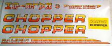 RALEIGH CHOPPER MK2 5 SPEED DECAL SET, YELLOW / ORANGE BLACK OUTLINE