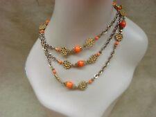 "Art Glass Bead 54"" Necklace! Vintage 1950-60'S Gold Tone Filigree W/Orange"
