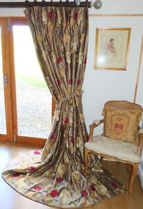 """DESIGNER CURTAINS Interlined EMBROIDERED SILK DUPION Floral Ea 96""""W 101""""D EX CON"""