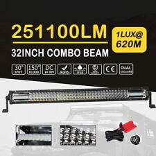 32Inch 1620W Led Light Bar Tri Row Combo Truck ATV SUV Driving Fog Lamp+ Wiring