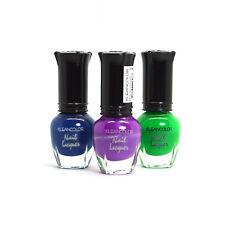 Kleancolor 3 Mini Nail Polish 5ml Neon Sapphire Purple Green Lacquer 3MINI04
