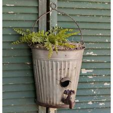 Hanging Water Bucket Bird House Planter Outdoor Wall Garden Yard Decor New