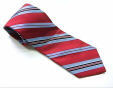NAUTICA Neck Tie SHINY RED w/ BRIGHT BLUE STRIPES 100% SILK Necktie USA