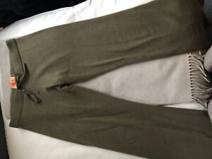 Women's JUICY COUTURE 100% CASHMERE ARMY GREEN SWEAT PANTS SIZE SMALL