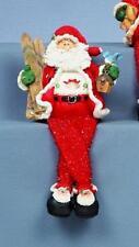 Sparkly Santa & Skis Shelf Sitting Chrismas Decoration 20cm Figurine