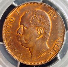1893, Kingdom of Italy, Umberto I. Copper 10 Centesimi Coin. PCGS MS-64 RB!
