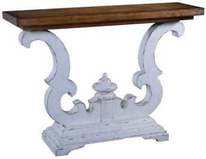 CONSOLE TABLE CAMBRIDGE SOLID WOOD SCROLL DESIGN  DISTRESSED OLD WORLD WHI