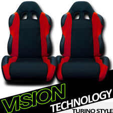 TS Sport Blk/Red Cloth Fabric Reclinable Racing Bucket Seats w/Sliders Pair V24