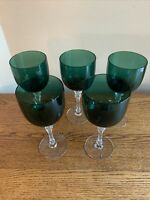 "SET OF 5 Tiffin KILLARNEY (Stem 15074) 7-3/4"" Water Goblet Wine Glass; Green"