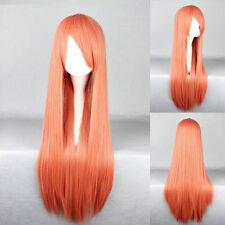 Orange Lange Klassische-Kappe Volles perücken