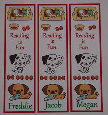 3 CHILDRENS PERSONALISED BOOKMARKS.(DOGS) READING IS FUN 18cm x5cm laminated