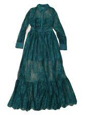 self portrait dress green long sleeve maxi collar dress size UK 8