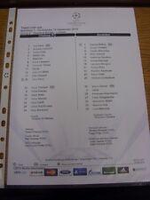 19/09/2012 COLORI teamsheet: Chelsea V JUVENTUS CHAMPIONS LEAGUE []. grazie per
