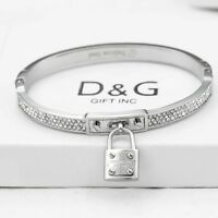 """DG Women's 6.5""""Silver Stainless Steel,6mm CZ Iced-Out Bangle,Charm Bracelet.Box"""
