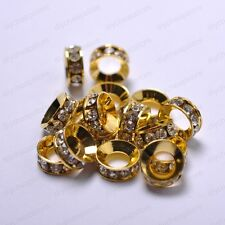 Wholesale 20Pcs Silver Plated Crystal Rhinestone Spacer Beads 8MM (hole 4.5MM)