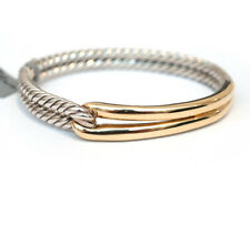 Nuevo con etiquetas David Yurman 3mm solo bucle laberinto pulsera de plata oro 18K Pequeño/Mediano