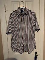 Mens Faconnable Striped White Red Blue Shirt Short Sleeve Button Down Medium