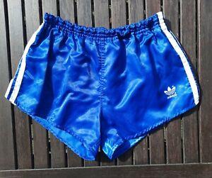 Adidas Nylon Vintage Sprinter Shorts Gr. 5 blau shiny Glanz made in West Germany