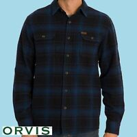 Orvis Big Bear Flannel Heavyweight Mens Long Sleeve Shirt Night Blue Plaid M