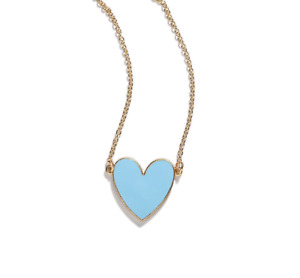 Yellow Gold Blue Enamel Large Heart Women's Statement Necklace Blogger Love Chic